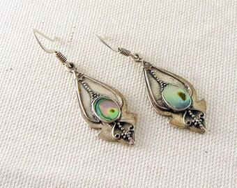 Vintage Abalone Drop Earrings in Sterling Silver