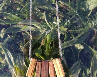 Necklace recycled from scraps of glasses, wood jewelry, handmade, original for any occasion