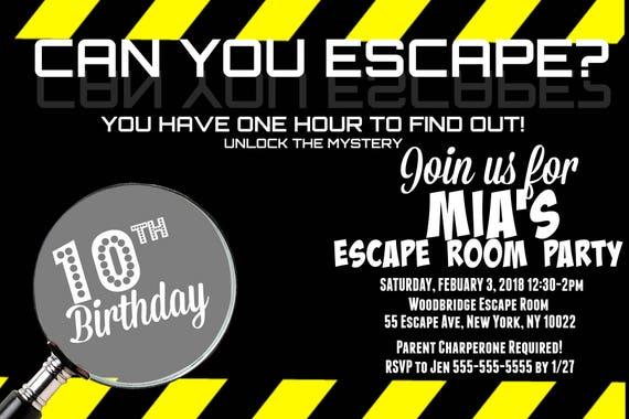 Pokój Escape Zaproszenie Na Urodziny Dostosowane Dla Ciebie Etsy