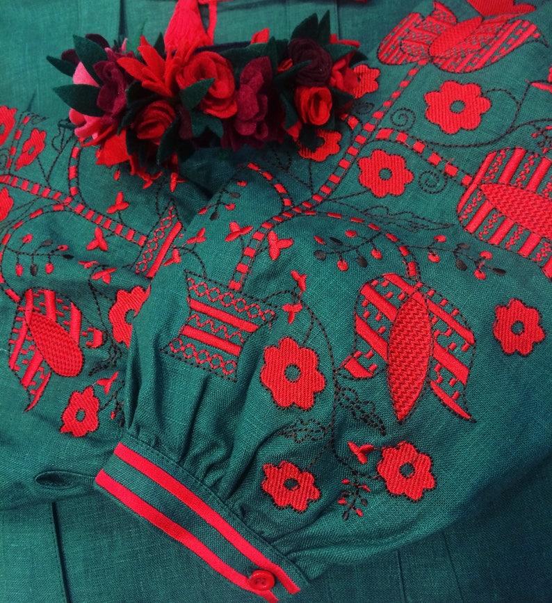 Embroidered Green Long Boho Dress Bohemian Style Ukrainian Vyshyvanka Dress Women Natural Linen Red Embroidery