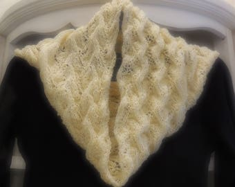 Cream Pure Wool Knitted Lace Cowl Neck Warmer
