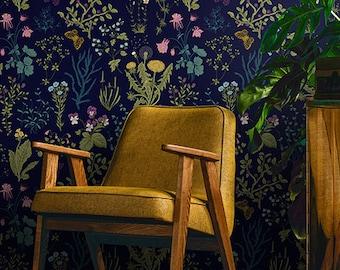 Vintage Dark Herbs Wallpaper | Self Adhesive Wallpaper, Wall mural, Removable Wallpaper, temporary wallpaper #184 peel and stick wallpaper