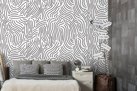 Black Curved Lines Wallpaper Self Adhesive Wallpaper Wall Etsy