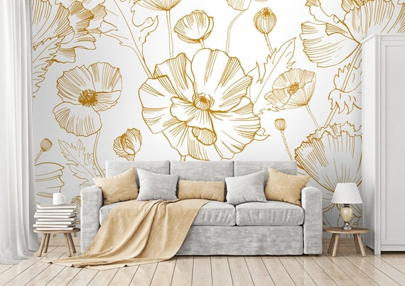 Orange Poppies Black And White Photo Wall Mural Fleece Easy-Install Paper