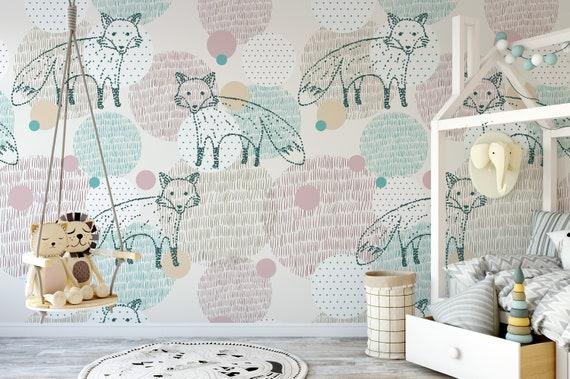 Peel-and-Stick Removable Wallpaper Fox Green Damask Nursery Decor Kids Animals