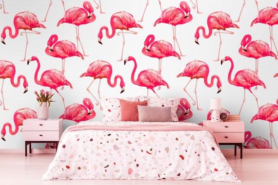 Removable Wallpaper Pink Flamingo Wallpaper Self Adhesive Etsy