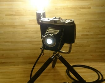 Upcycled Recycled Art Lamp - Camera