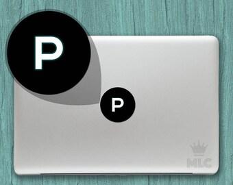 2 pcs   Letter P Macbook Light Decal, Letter P Macbook Apple Logo Cover Vinyl Sticker