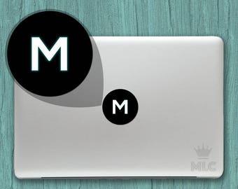 2 pcs   Letter M Macbook Pro Glowing Decal, Letter M Mac Apple Logo Cover Vinyl Sticker