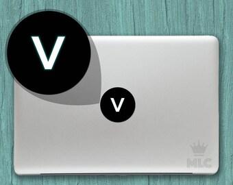 2 pcs   Letter V Macbook Light Decal, Letter V Mac Apple Logo Cover Vinyl Sticker