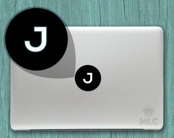 2 pcs   Letter J Macbook Air Glowing Decal, Letter J Mac Apple Logo Cover Vinyl Sticker