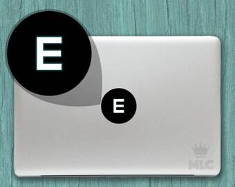 2 pcs   Letter E Macbook Light Decal, Letter E Mac Apple Logo Cover Vinyl Sticker