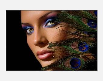 Beauty hair Salon Makeup and Feathers Poster or Canvas