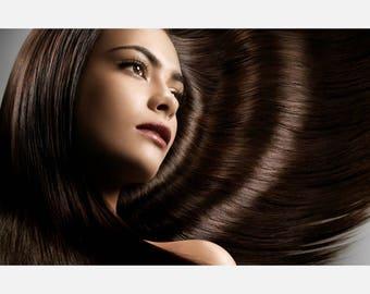 Beauty hair Salon Long Brown Hair  Poster or Canvas