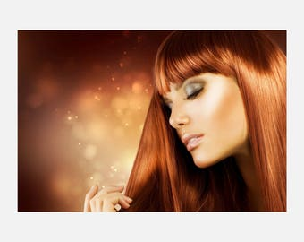 Beauty hair Salon Red Hair Style Poster or Canvas