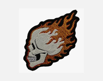 Skull with flames embroidery patch