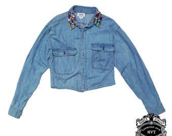 jean crop jeweled button down shirt