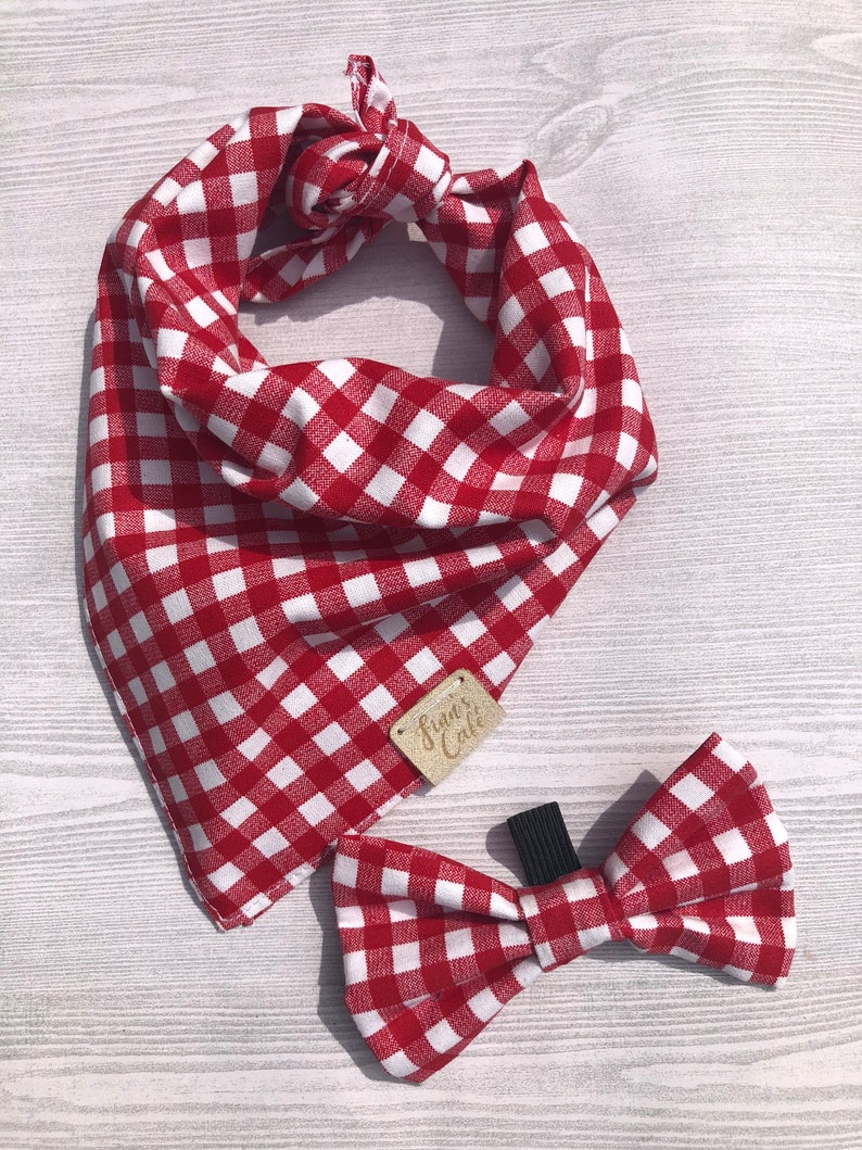 Gingham Red and White Style Dog Bandana  Red and White Checkered Bandana  Cotton Dog Bandana  Red and White Check