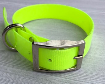 "Waterproof Neon Yellow 1"" wide Dog Collar / Neon Dog Collar with Metal Buckle / Cute Bright Dog Collar"