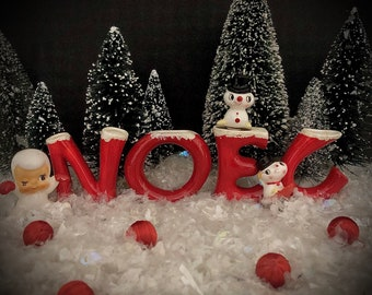 Howard Holt Vintage Christmas  Noel Vase Set Red MCM midcentury