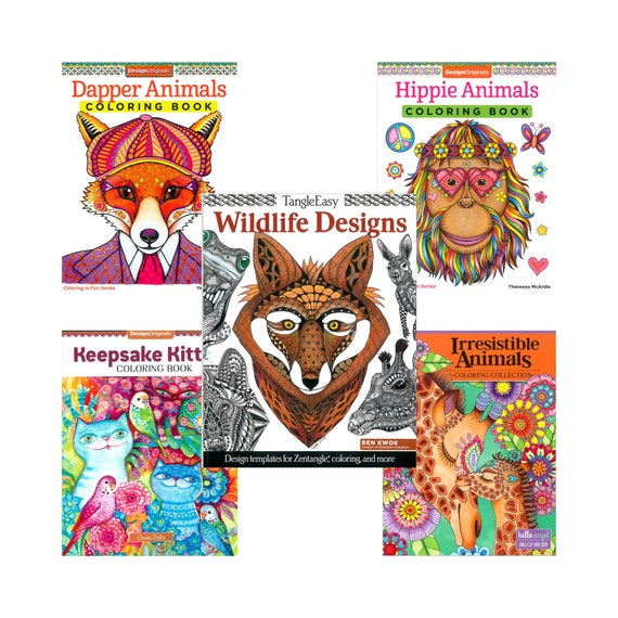 Animal Adult Coloring Books 5 Options To Choose From Etsy