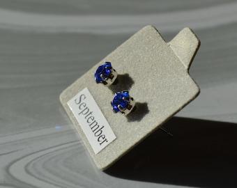 September Sapphire Birthstone Earrings