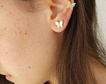 Butterflies Button Earrings