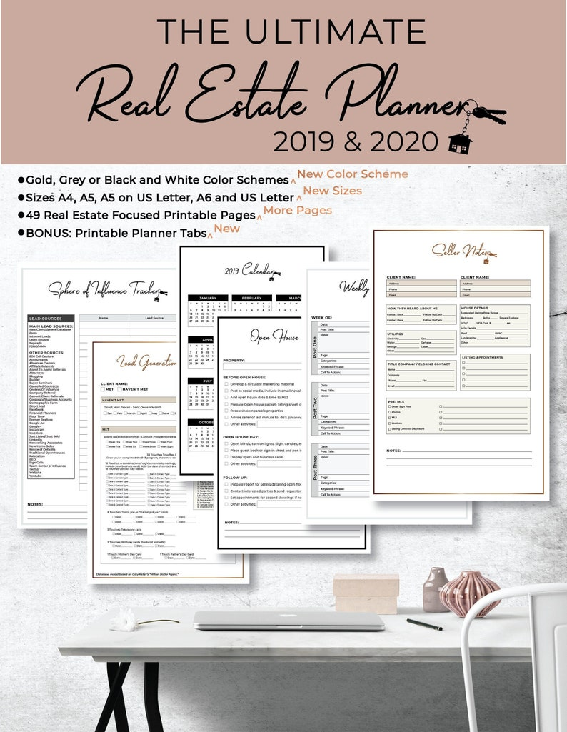 Calendario Estate 2020.Ultimate 2019 2020 Real Estate Business Planner Instant Digital Download Gold Silver Black White A4 A5 A5 Crop A6 Us Letter