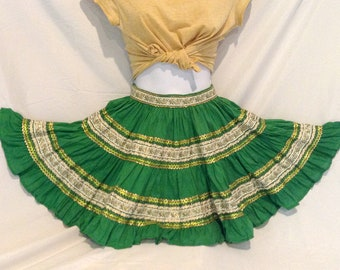 1950's Patio skirt, mini skirt style, green with gold, white and green trim, circle skirt, country Ranch-wear cool or rockabilly hip