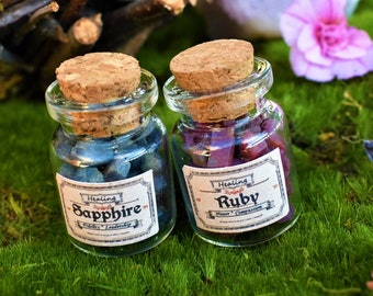Ruby and Sapphire gemstones Jewelry making Ruby chips Sapphire chips gemstones chips crystals chips altar spells