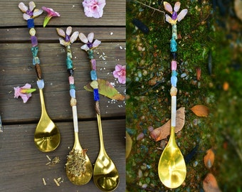 CRYSTAL CHIPS SPOON  Cute spoons for herbs  Metal gold Spoons   witchcraft supplies  crystals spoon  Rituals  Altar  handmade spoon