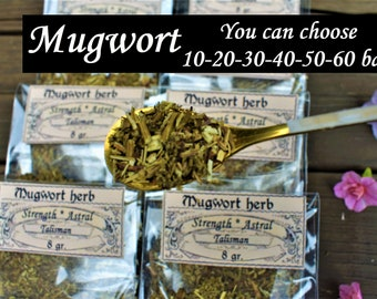 MUGWORT HERB BAGS of 10 20 30 40 50 Mugwort Adivination Spell  Mugwort properties Wicca Started herbs Supplies for my shop