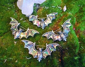 BAT Abalone Brooch   gothic   vampire   magical animal  Witch  brooch  Bat vintage  talisman by Yanny