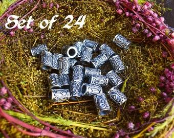 RUNES hair beads  Celtic Beads  Hair beads  set of 24 runes hair beads  Celtic beards  Viking Jewelry 