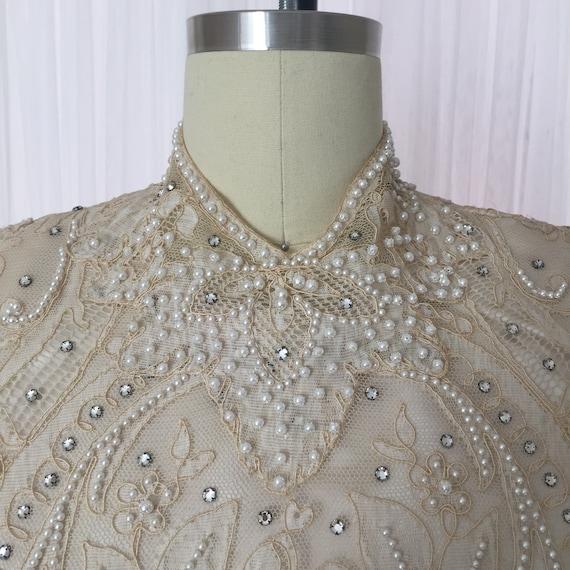 Vintage Lace Beaded Wedding Dress / VTG Wedding Dr