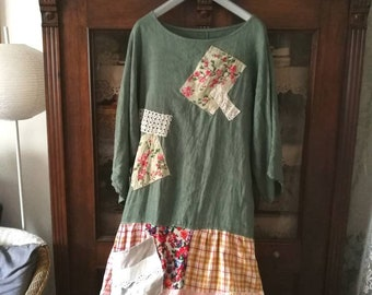 adb23c8d48a upcycled linen top gypsy clothes bohemian clothes