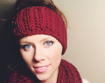 Jocelyn 100% Wool Ear Warmer - Crochet