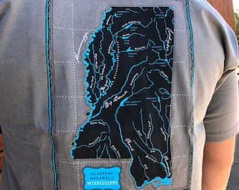 Mississippi Rivers and Lakes Pocket T-Shirt Grey