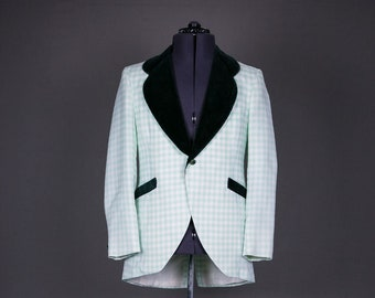 Vintage Men's 1970s Tuxedo Jacket Green Check