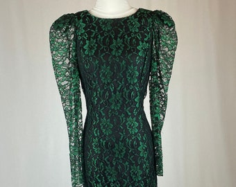 Vintage 1990s Emerald Green Lace Dress Witch Costume