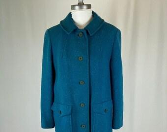 Vintage Blue Wool Pendleton Long Overcoat