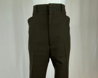 Vintage 1970s 1980s Men's Polyester Brown Trousers