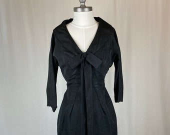 1950s Vintage Black Collared Dress Pencil Skirt