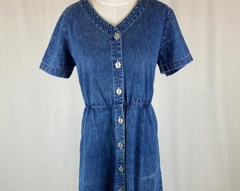 Vintage 1990s Casual Denim Button Down Dress