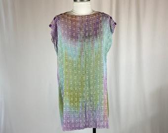 Original Hand Woven Silk and Bamboo Tunic  Rainbow Colors