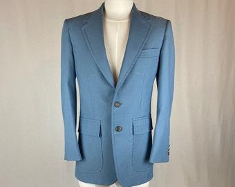 Men's Vintage 1970s 1980s Polyester Light Blue Blazer