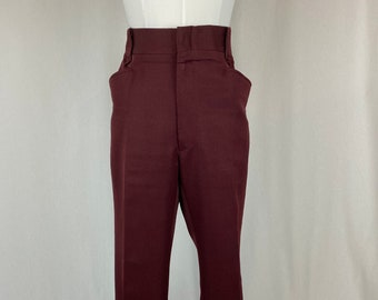 Men's Vintage 1970s 1980s Burgundy Polyester Pants