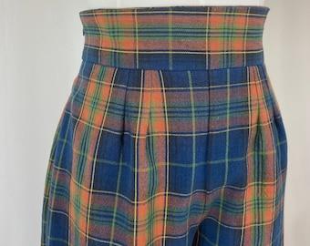 New Handmade Retro Wide Leg/High Waisted Plaid Trousers with Wide Waistband