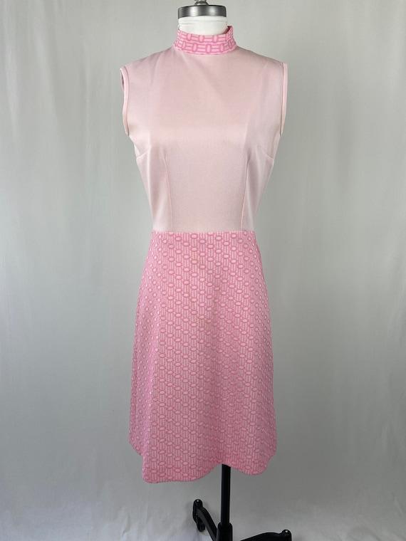 Vintage 1960s 1970s Pastel Pink Dress - image 1