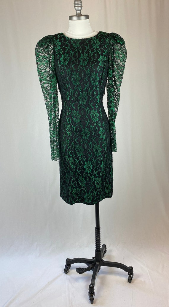 Vintage 1990s Emerald Green Lace Dress Witch Costu